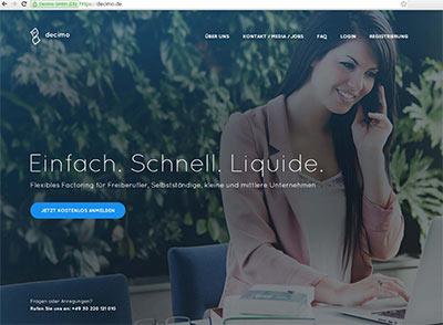 decimo Webseite - Factoring Dienstleistung.